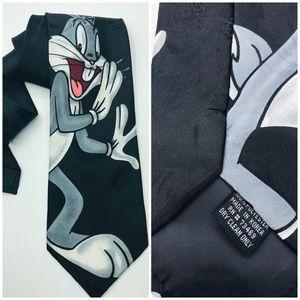 """Looney Tunes Bugs Bunny Mens Tie 4x58"""" Black Gray"""